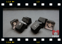 "MAX Nighthawk X series keycap uses special coating method to make sure all the surface of the key cap is evenly coated. (MAX keycaps are on the right. As you can see ""X"" brand keycaps (left) are not evenly coated / painted. Next, pay attention to the inner stem of the keycap, MAX Nighthawk X series uses hexagon shape stem."