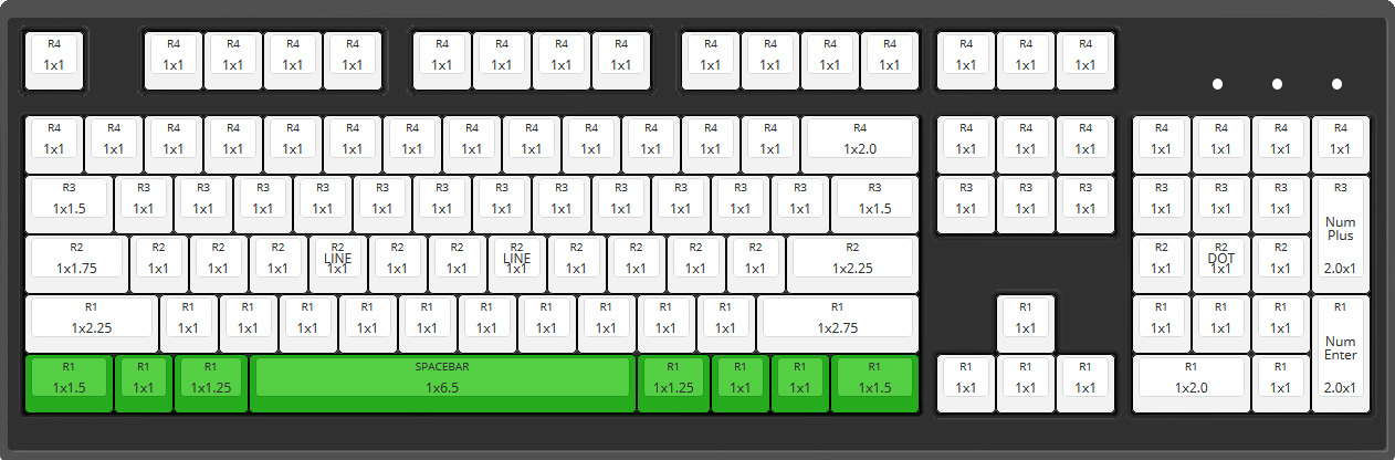 Max Keyboard 104 ANSI Layout with 6.5x unit spacebar