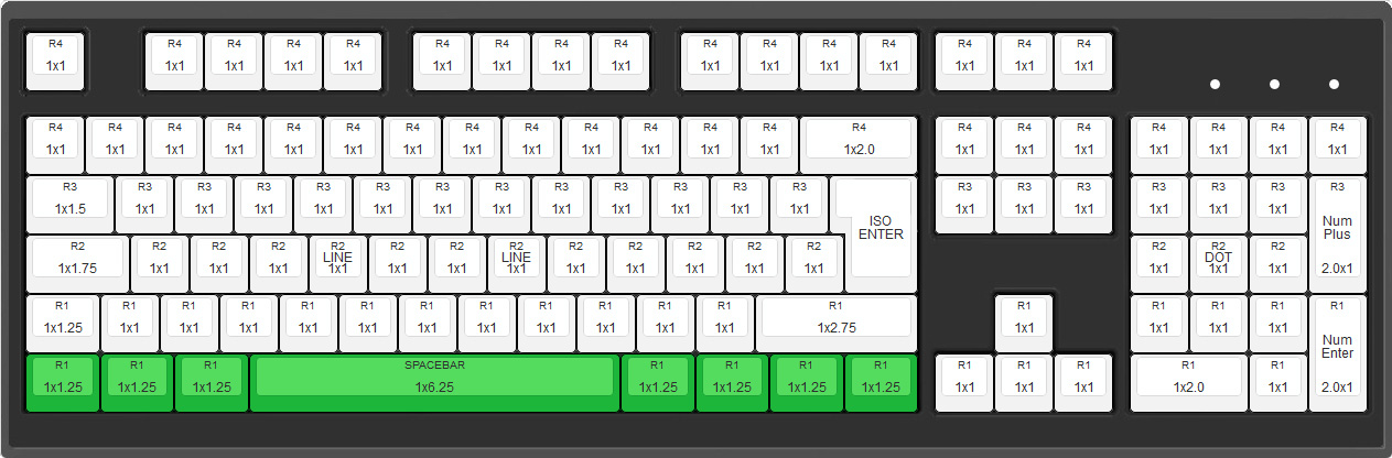 Max Keyboard 104 ANSI Layout with 6.25x unit spacebar
